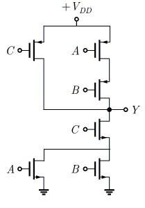 In the CMOS circuit shown below, what would be the output of Y?
