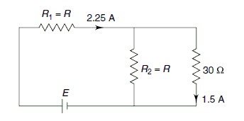 Two equal resistances R\(_{1}\)= R\(_{2}\)= R are connected with a 30 \(\Omega\)resistor and a battery of terminal voltage V. The currents in the two branches are 2.25 A and 1.5 A as shown in the figure. Then, what will happen? Please explain the answer in brief.