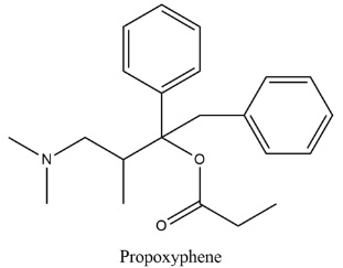 Propoxyphene is an analgesic and antitussive drug. How many chirality centres are there in propoxyphene?How would you explain the answer?