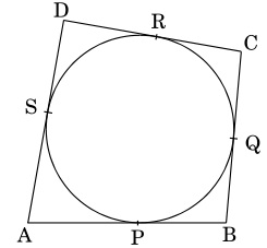 In a figure quadrilateral ABCD is drawn to circumscribe a circle such that its sides AB, BC, CD and AD touch the circle at P, Q, R and S respectively. If AB = x cm, BC = 7 cm, CR = 3 cm and AS = 5 cm, How should I calculate the value of x?