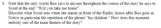 """This  question makes no sense to me. It refers to the book """"To Kill A Mockingbird"""""""