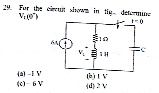 For the circuit shown in fig determine VL(0+)