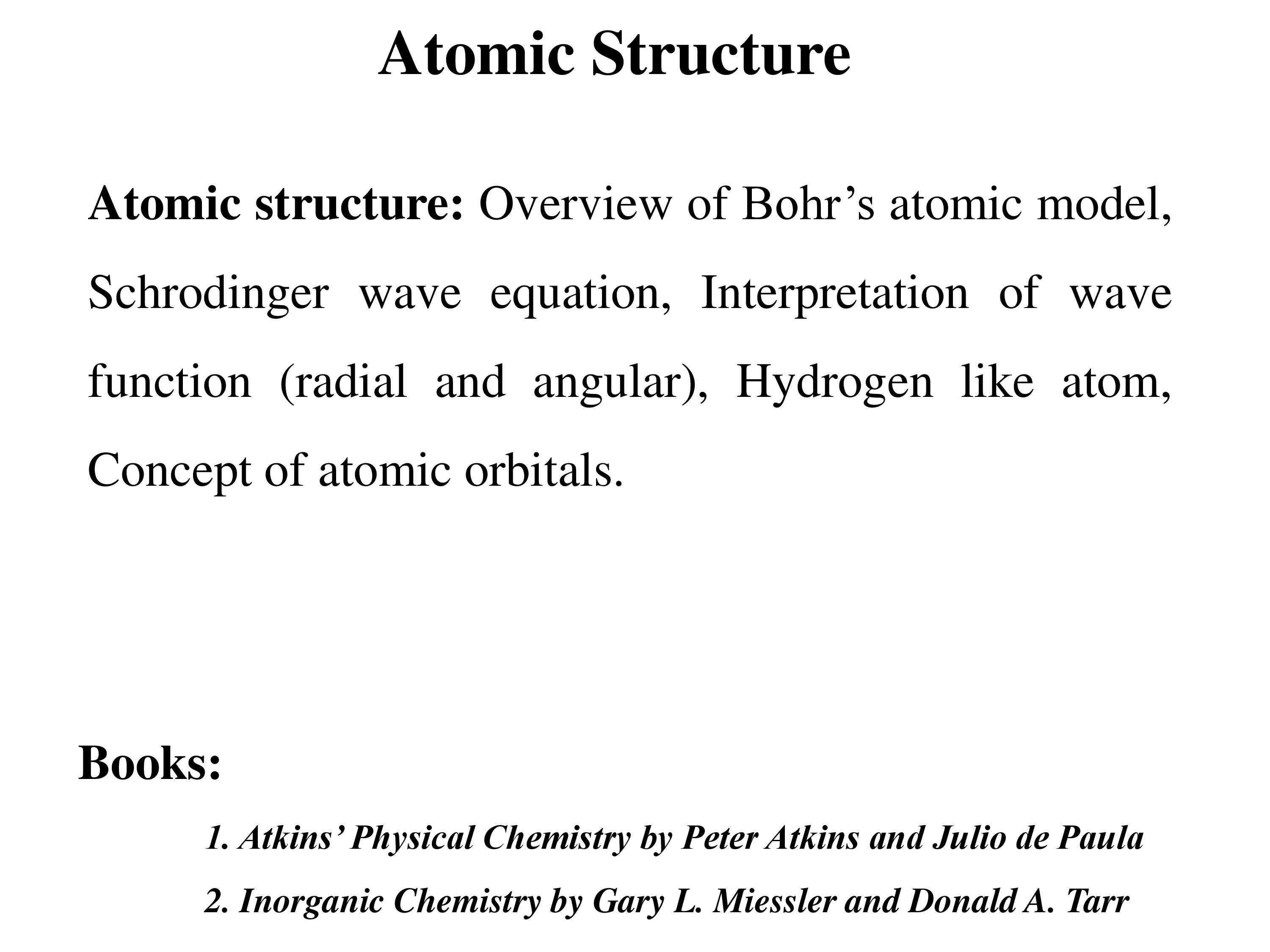 Atomic Structure and  Quantum Numbers