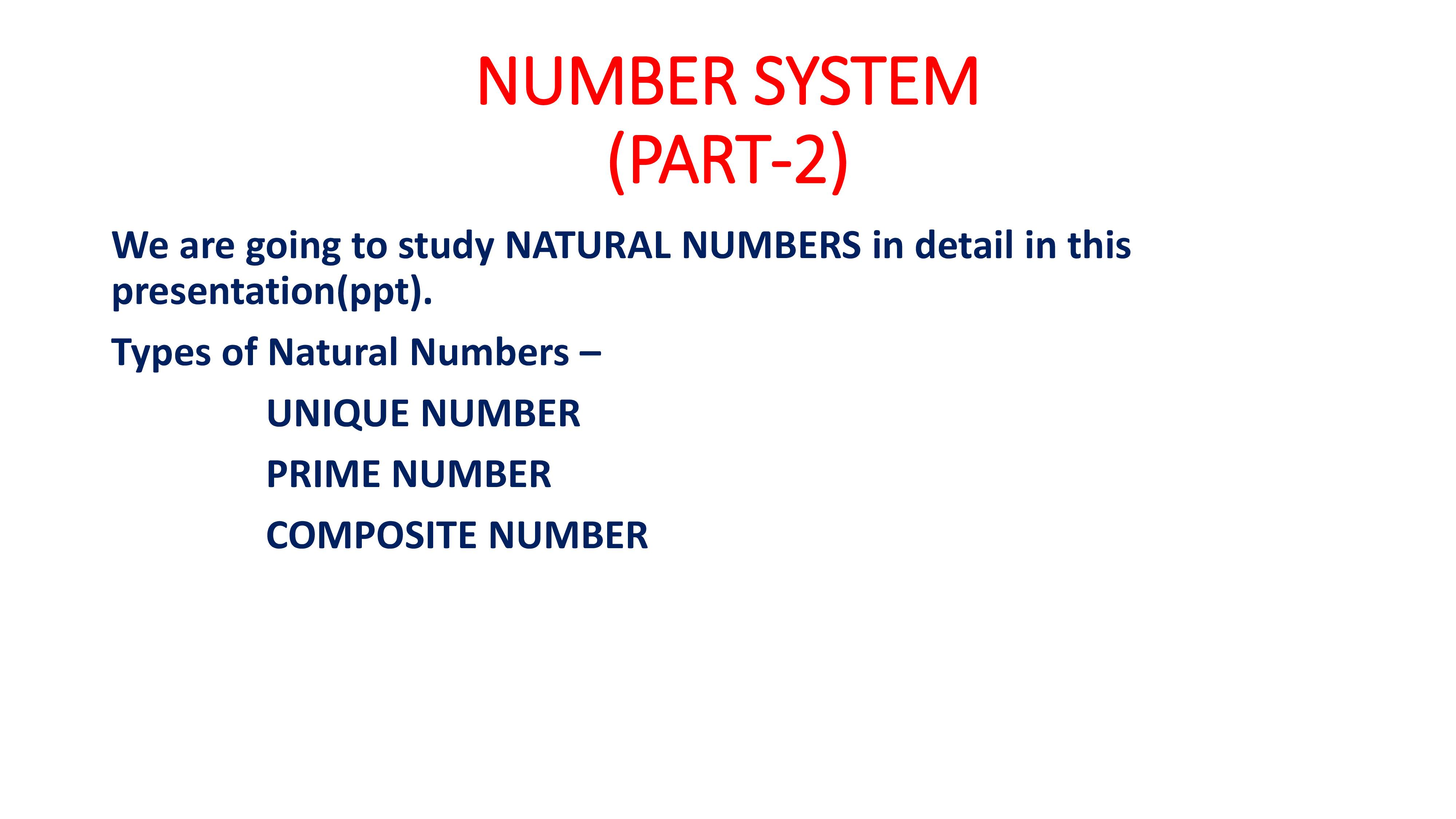 Presentation on Natural Numbers
